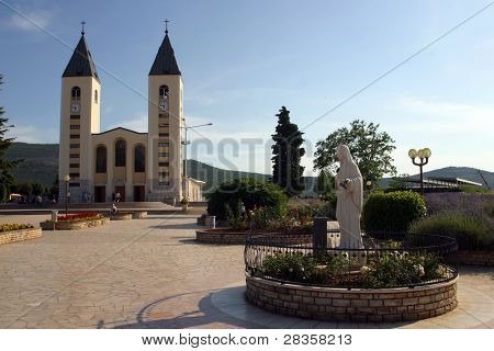 Medugorje church with Holy Virgin Marry