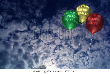 New Year Balloons At Dawn