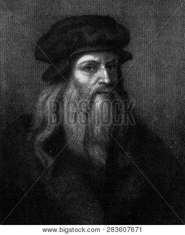 Leonardo da Vinci vintage engraved
