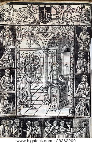 The Annunciation, page of medieval missal