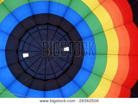 Inside of a colorful hot air ballon