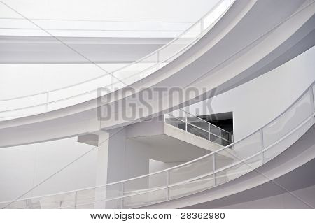 Modern white building with diferent levels corridor