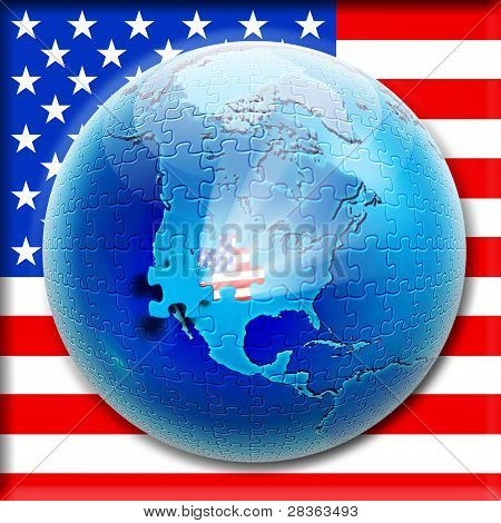 Puzzle On Globe With Flag Usa Inside