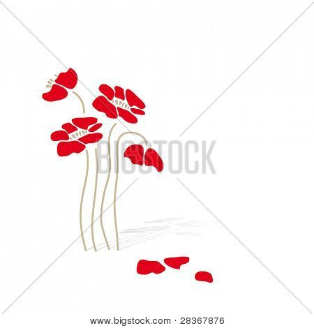 Decorative background with red flower