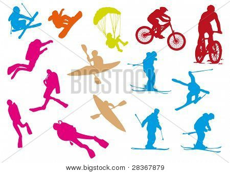 Set of 15 adrenalin sports silhouettes