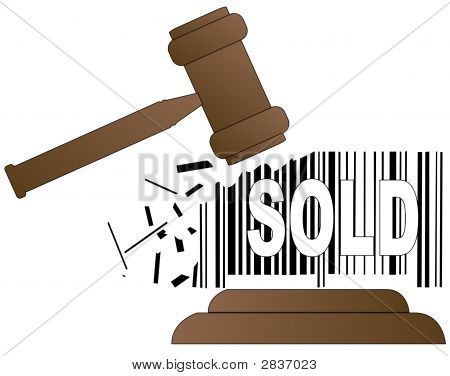 Gavel Smashing Sold Barcode
