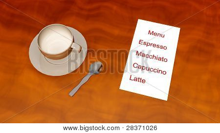 coffee menu 3d