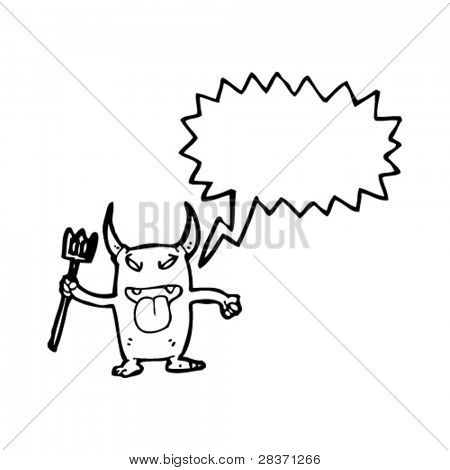 rude little devil with pitch fork cartoon