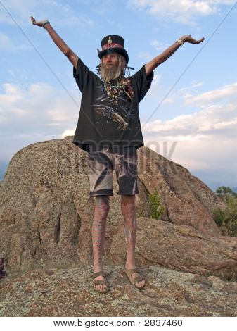 Eccentric Older Man Celebrating Life