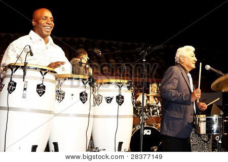 SANTA YNEZ, CA - MAY 30: Barry Bonds and Pete Escovedo at 'Rhythm on the Vine' charity event to benefit Shriners Children Hospital at the Gainey Vineyard May 30, 2009 in Santa Ynez, California