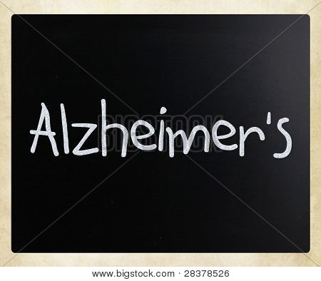 "The Word ""alzheimer's"" Handwritten With White Chalk On A Blackboard"