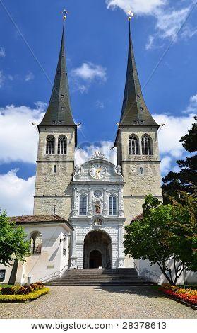 Hofkirche Cathedral In Luzern, Switzerland