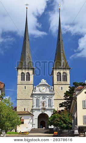Hofkirche Cathedral In Luzern, Swizterland, The Church Of St. Leodegar