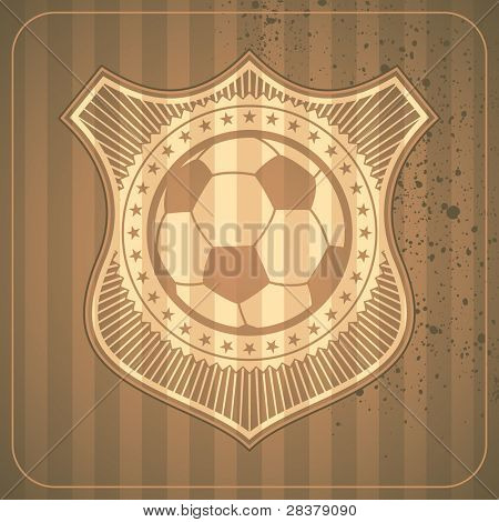 Illustrated soccer crest. Vector illustration.