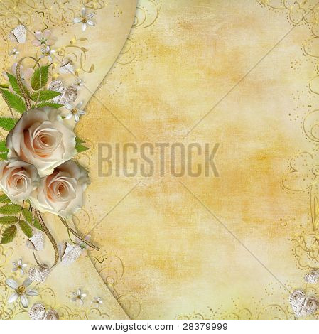 Greeting Golden Card With Beautiful  Roses, Paper Hearts, Ribbon, Leaves