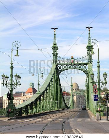 The green Freedom Bridge, Budapest.