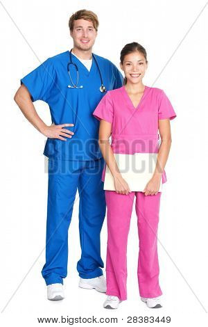medical professionals standing isolated. Young caucasian man or young asian woman doctors or nurses in medical scrubs.