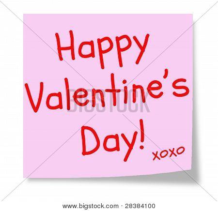 Happy Valentine's Day Pink Sticky Note