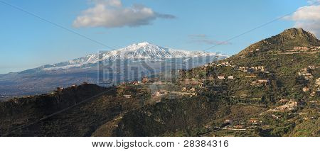 Snow peak of Etna volcano seen from Taormina