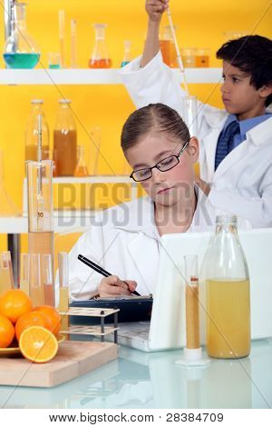 Two children in laboratory