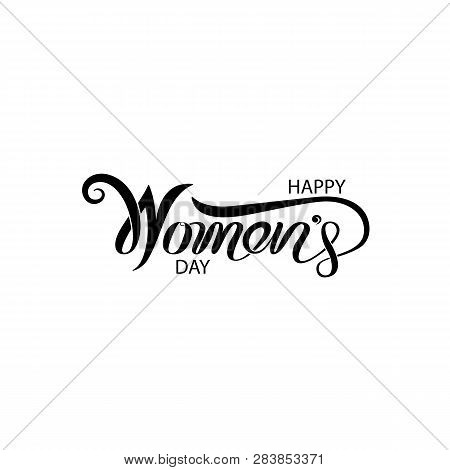 poster of Pink Happy Women's Day Typographical Design Elements. International Women's Day Icon.women's Day Sym