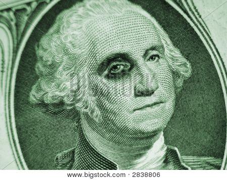 One Dollar Bill With Black Eye