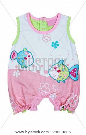 Baby Romper With Fish Motif