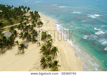 Empty beach seen from above. The dominican republic.