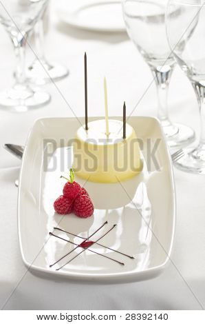 Gourmet Vanilla Dessert With Raspberries And Chocolate