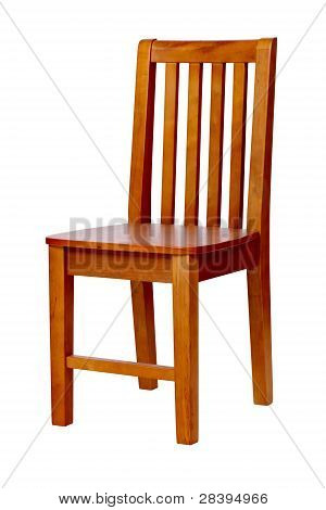 Wooden chair over white, with clipping path