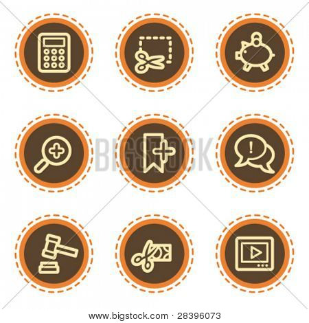 Shopping web icons set 3, vintage buttons