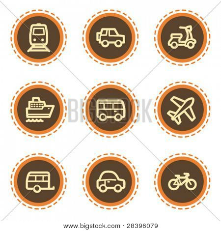 Transport web icons, vintage buttons