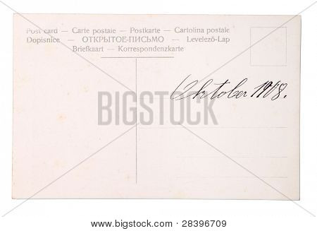 old empty post card isolated on white with handwriting - October 1908