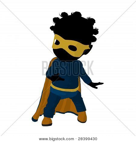 Little African American Super Hero Girl Illustration Silhouette