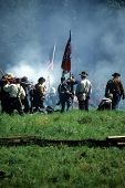 stock photo of rebs  - Confederates defend the flag