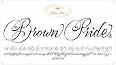 Brown Pride - Updated Handwritten Chicano Script Font. Hand Drawn Popular Tattoo Style Calligraphy C poster