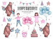 Set Of Watercolor Happy Birthday Elements Bear Hugs Balloons, Girl, Boy And Cake, Magic Wand, Gift R poster