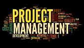 Project management concept in word tag cloud on black background