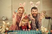 Family Values, Childhood, Art. Easter, Mother, Father And Child In Bunny Ears. Happy Family Celebrat poster