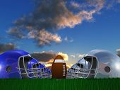 Football Helmet and Ball Composition. 3D rendering poster