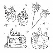 Sweet Cake. Decorated Sweetness. Dessert. Sweet Magical Set. Unicorn Sweets. poster