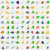 100 Vital Icons Set In Isometric 3d Style For Any Design Illustration poster