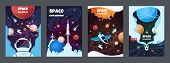 Cartoon Space Banners. Galaxy Universe Science Child Astronaut Modern Planet Poster Study Banner. Ve poster
