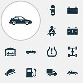 Automobile Icons Set With Seat Belt Not On, Hill Descent, Van And Other Carriage Elements. Isolated  poster