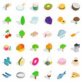 Vegetarian Burger Icons Set. Isometric Style Of 36 Vegetarian Burger Icons For Web Isolated On White poster