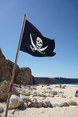 stock photo of skull crossbones flag  - Flag of a Pirate skull and crossbones  - JPG