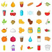 Vegetarian Food Icons Set. Cartoon Style Of 36 Vegetarian Food Icons For Web Isolated On White Backg poster