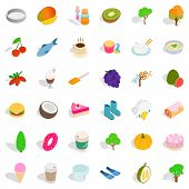 Vegetarian Food Icons Set. Isometric Style Of 36 Vegetarian Food Icons For Web Isolated On White Bac poster