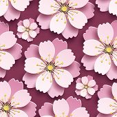 Beautiful Modern Maroon Background Seamless Pattern, Decorative White, Pink 3d Sakura Flower, Japane poster