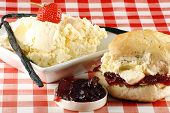 stock photo of devonshire  - traditional cream ccone with cream and strawberry jam - JPG